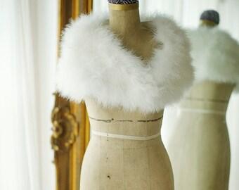 Marabou Bridal Stole, vintage stole, bridal accessories,ivory feather stole, Hollywood Glamour, Bridal Dress, Evening Shrug Ivory