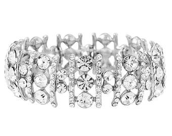 Glamour Crystal Stretch Bracelet, Bridal bracelet, prom bracelet, hollywood glamour