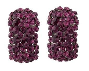 Amethyst Clip on Crystal Cluster Earrings, bridal earrings, prom earrings,  bridal jewellery, clip on earrings, hollywood glamour
