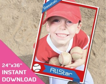 baseball party printable decorations 24x36 baseball card frame photo props birthday party photo booth prop baseball party favors decor
