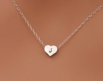 Initial Heart Necklace, Silver Heart Necklace, Heart Initial Necklace, Sterling Silver Chain, Personalized Gift, Valentine Gift for Her 0314