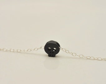 Black Skull Necklace, Tiny Skull Necklace, Mini Black Skull Necklace, Sterling Silver Chain, Skeleton Jewelry, Halloween Necklace 0321