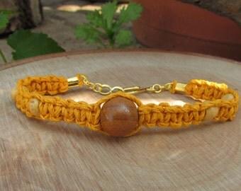 Yellow Hemp Bracelet with Wooden Beads