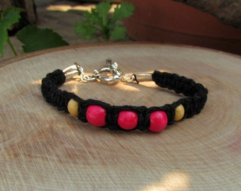 Black Hemp Bracelet with Wooden Beads