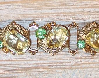 Vintage Chunky Rhinestone Collectible Bracelet Mod Hollywood Regency Style
