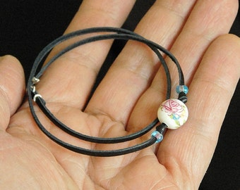 Handmade Sterling Silver & Ceramic Bracelet For Men or Women