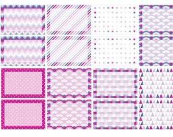 Half box purple deco background stickers (planner stickers)