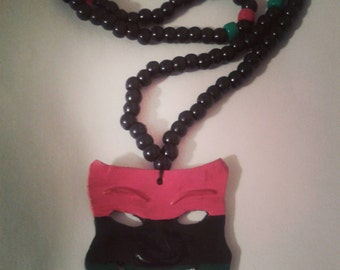 RBG red black and green mask necklace