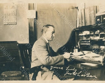 Man at His Desk Vintage Postcard Printable Digital Download