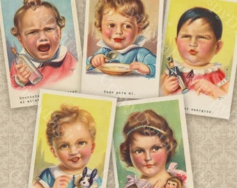 Vintage Baby Postcard Set of Five Baby Printable Baby Digital Download