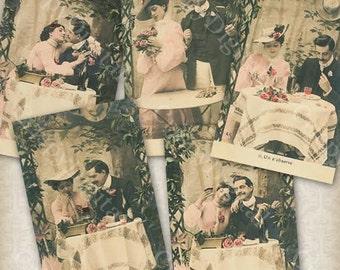 Romantic Dinner Couple at Restaurant Vintage Postcard Set of Five Romantic Printable Romantic Digital Download
