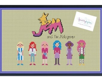 Jem and the Holograms Cross Stitch DIGITAL PDF (pattern only) Jem, Kimber, Jerrica, Aja, Shana, and Raya