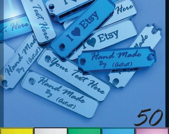 50 Custom Acrylic Tags - Laser cut Mirrored Acrylic - Long Shapes with Multiple Color Choices