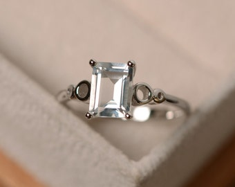 White topaz ring, solitaire ring, gemstone sterling silver, white topaz engagement ring