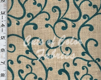 Green Teal Burlap prints on 100% bleached jute fabric by the yard.