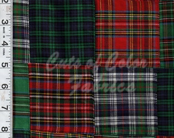 """E15GA-015 Vintage Inspired Fabric 3"""" by 3"""" Tartan Plaid Patchwork fabric by the yard"""