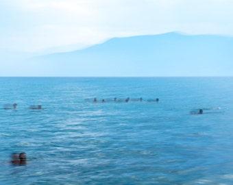 Swimmers in the Aegean Sea, photograph on fine art paper, signed, blue, water, Greece, seaside, modern wall art, modern art, abstract