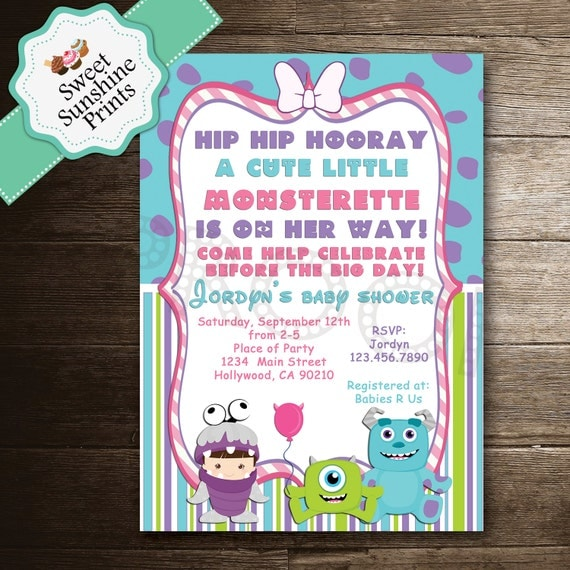 monster inc girl baby shower invitation by sweetsunshineprints