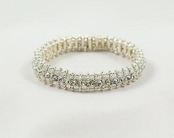 Round Stretch Sparkling Silver Crystal Bracelet