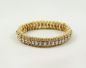 Round Antique Gold Stretch Bracelet