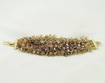 Luminous Beaded Stone Bracelet With Sparkling Crystal Studs