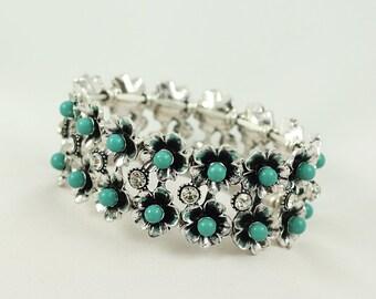 Turquoise Bracelet, Turquoise Stretch Bracelet, Turquoise Jewelry, Turquoise Silver Bracelet, Stretch Bracelet, Gift For Her