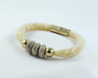 Magnetic Bracelet  Magnetic Clasp  Bracelet Gold Rhinestone Bracelet  Magnetic Jewelry  Nylon Bracelet  Gift For Her