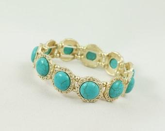 Round stretch gold turquoise bracelet