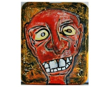 Original Abstract Outsider Art Painting Textured Art Recycled Styrofoam Found Object Art NYC Homeless Unique Christmas Gift Macabre Portrait