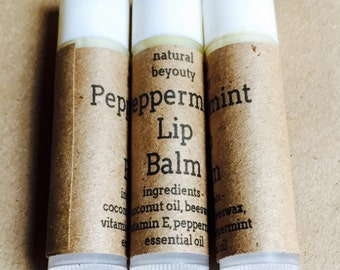 Peppermint Lip Balm, All Natural, Chapstick, Tinted or nontinted, Homemade, Moisturizing, Beeswax