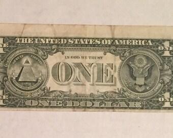 1981 U.S. One Dollar Bill Error Misaligned Back Downshift Misprint