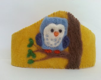 Felt Owl Waldorf birthday crown steiner inspired, wool felt
