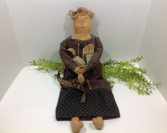 Old Doll  Wearing Vintage Clothes with Old Sewing Features