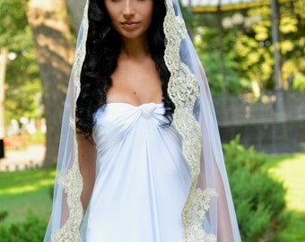 Gold mantilla veil, mantilla veil gold, Wedding Veil, lace veil, veils, Unique Mantilla Veil, golden Veil, Lace Veil, mantilla,