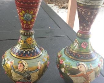 Vintage brass indian vases