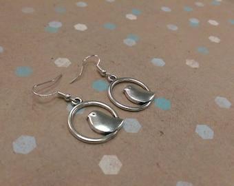 Silver Bird Dangle Earrings