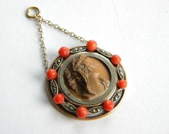 Antique LAVA cameo pendant in silver 835 genuine CORALS and marcasites in77590