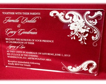 Acrylic Invitation- Clear with Paisley Motif