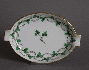 Herend Parsley Oval Ashtray With Lips # 7783 / PE Persil