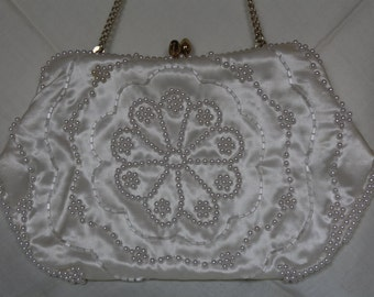 Vintage Beaded White Purse made in JAPAN