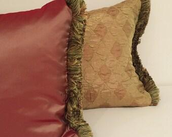 """Red gold pillow/ Gold green  pillow/ 19""""x 13"""" pure silk  lumbar pillow with designer fringe/silk pillows/ pink pillows/ pillows"""