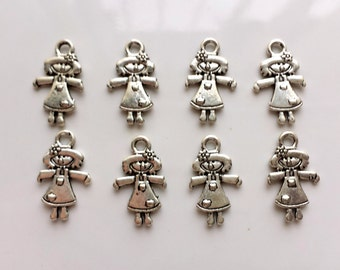 Doll charms x 8, Silver tone charms, Tibetan silver charms, Silver tone Doll charms, Double sided charms, Double sided doll charms