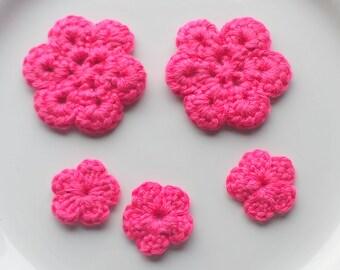 Dark Pink Crochet Flower Appliques x 5, Hot Pink Flower Appliques, Pink Crochet Flowers