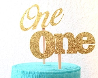 ONE  cupcake toppers- glitter or Metallic Cardstock