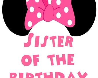 Minnie Mouse Iron On Transfer, Minnie Mouse Transfer, Minnie Mouse Iron On, Minnie Mouse Sister of Birthday Girl