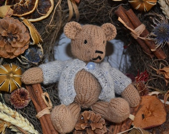 Cute Hand-knitted 'Henry' the Teddy Bear with Knitted Cardigan