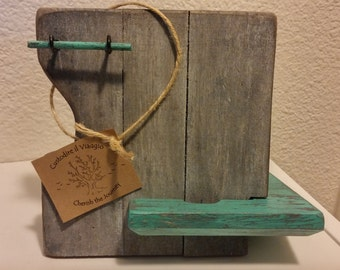Beachy - Rustic Cell Phone dock for Iphone or Android - 100% recycled wood!