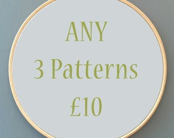Any 3 Cross stitch Charts / Patterns EMAIL ONLY