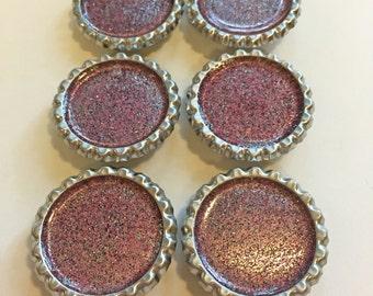 Pink and Black Glitter Resin Bottle-cap Magnets set of 6
