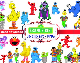 INSTANT DL- 36 x Sesame Street Clipart - printable Digital Clipart Graphic Instant Download